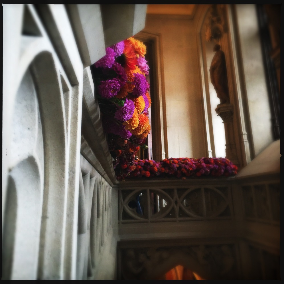 Colourful flowerarrangements at the staircase, the final of Flowertime 2015